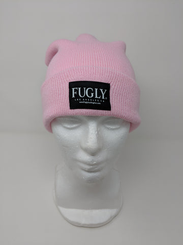 "(NEW) ""Bubble Gum"" Pink FUGLY® Brand Label Beanie"