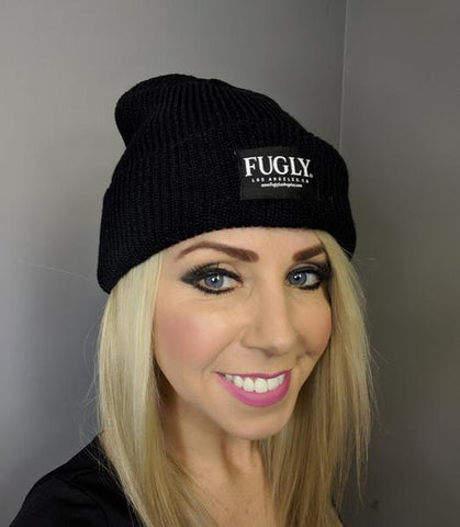 (NEW) Black FUGLY® Brand Label Loose Knit Ribbed Cuff Beanie