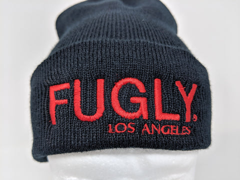 (NEW) Red FUGLY® Black Beanie