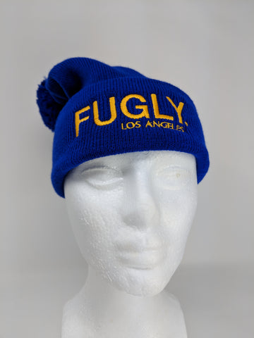 Blue & Gold FUGLY® Los Angeles Pom Beanie