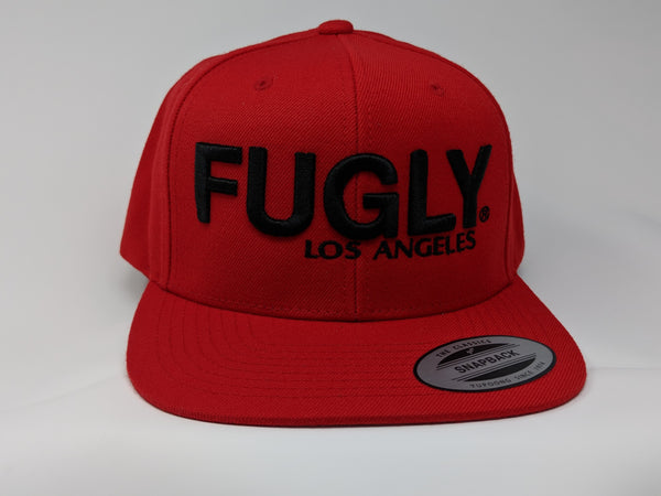 3D FUGLY Los Angeles Premium Classic Snapback Wool 6-Panel Flat Bill(RED)