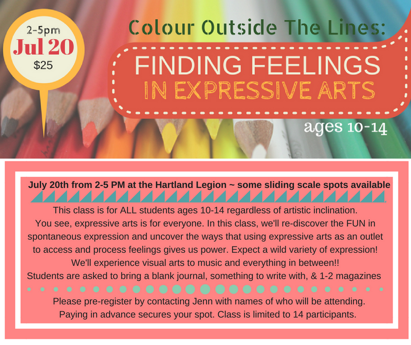 HARTLAND, NB - Colour Outside the Lines: Finding Feelings in Expressive Arts (ages 10-14)