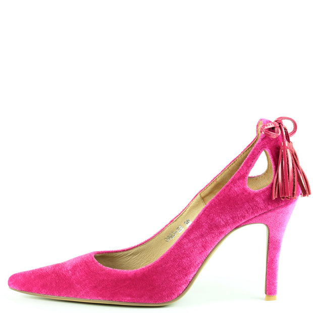 Garbo Heel in Hot Pink Velvet with Tassle