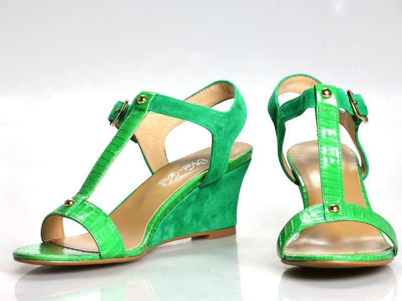 Carlie Wedge in Green Snake and Suede