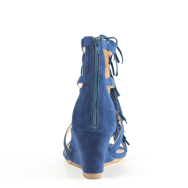 Shaggy Wedge in Navy Suede