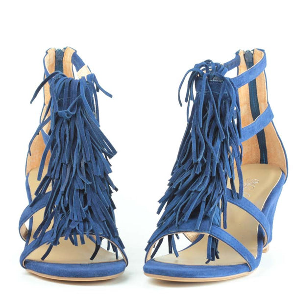 Wedding Shoes Zippay: Shaggy Wedge In Navy Suede