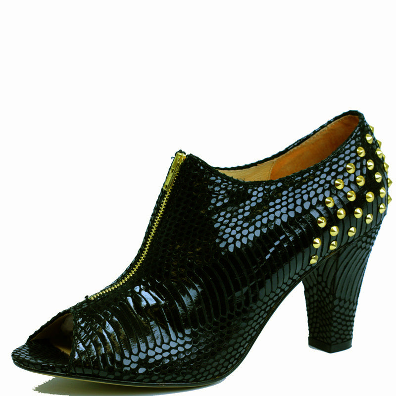 Marlese Boot in Black Snake with Gold Studding