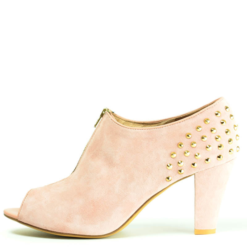 Marlese Boot in Pink Suede with Gold studding