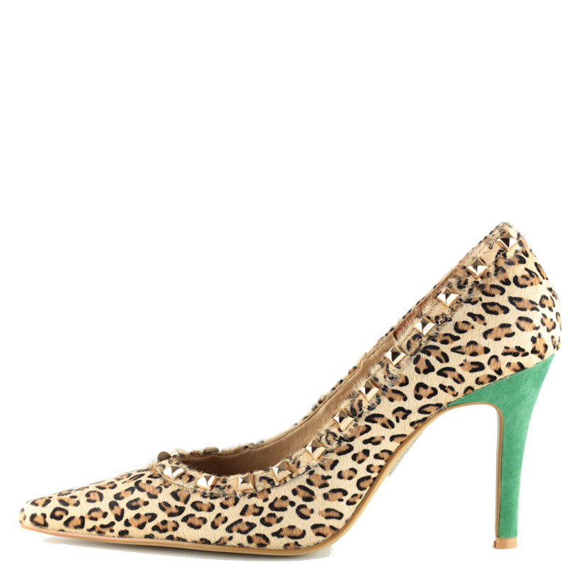Park Avenue in Leopard Fur with Studs and Green Suede Heel