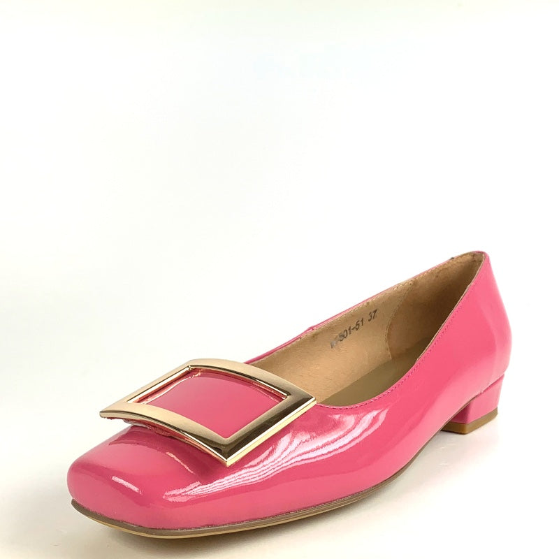 Penelope in Pink Patent with Gold Buckle