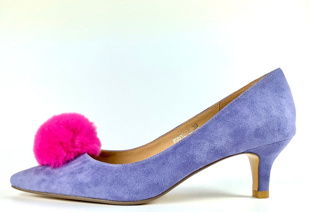 The Molly Heel in Lavender Suede with Hot Pink Pom Pom