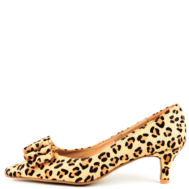 Molly Kitten Heel in Leopard Fur with Fur Bow