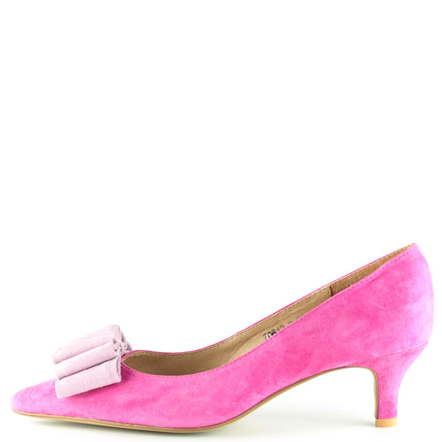 Molly in Pink Suede with Pink Bow