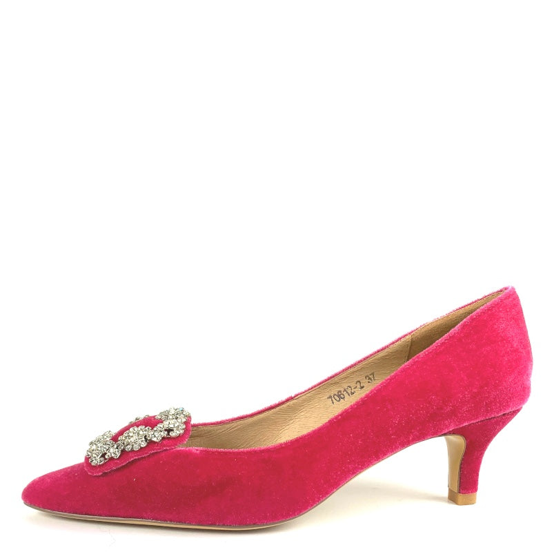 Molly in Hot Pink Velvet with Diamante Buckle