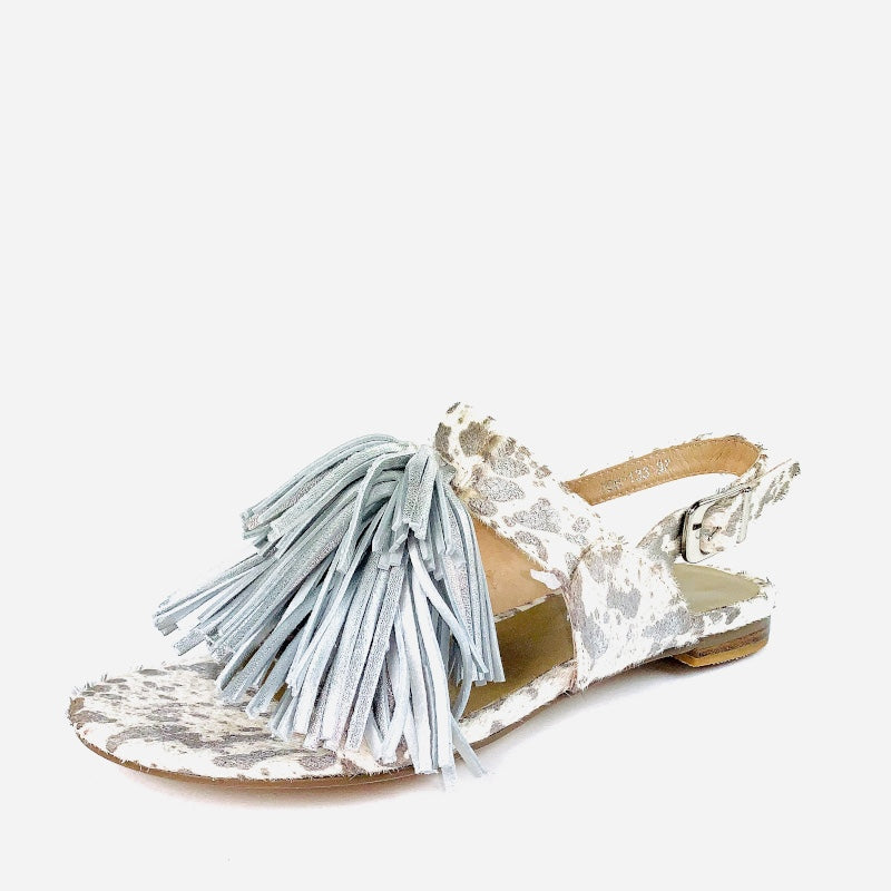 The Fringe Sandal with Silver and White hide, Silver Tassel