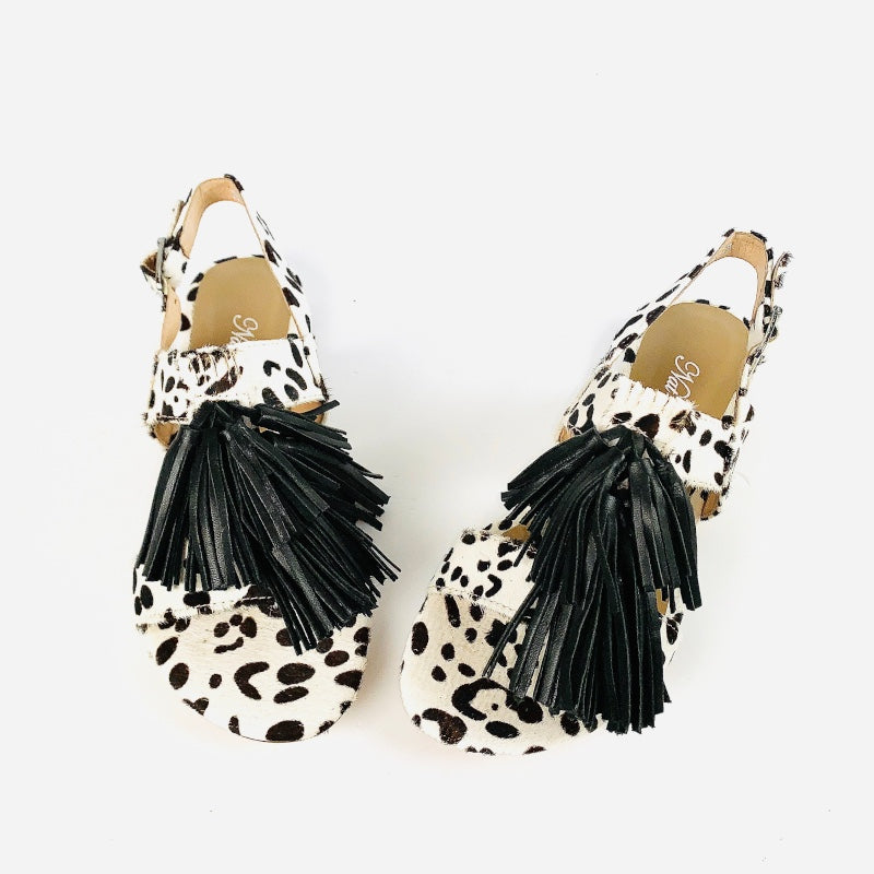 The Fringe Sandal in Black and White Hide,Black Fringe