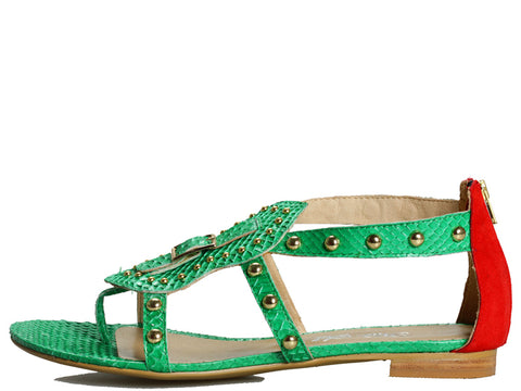 Cleopatra in Green Snake and Orange Suede