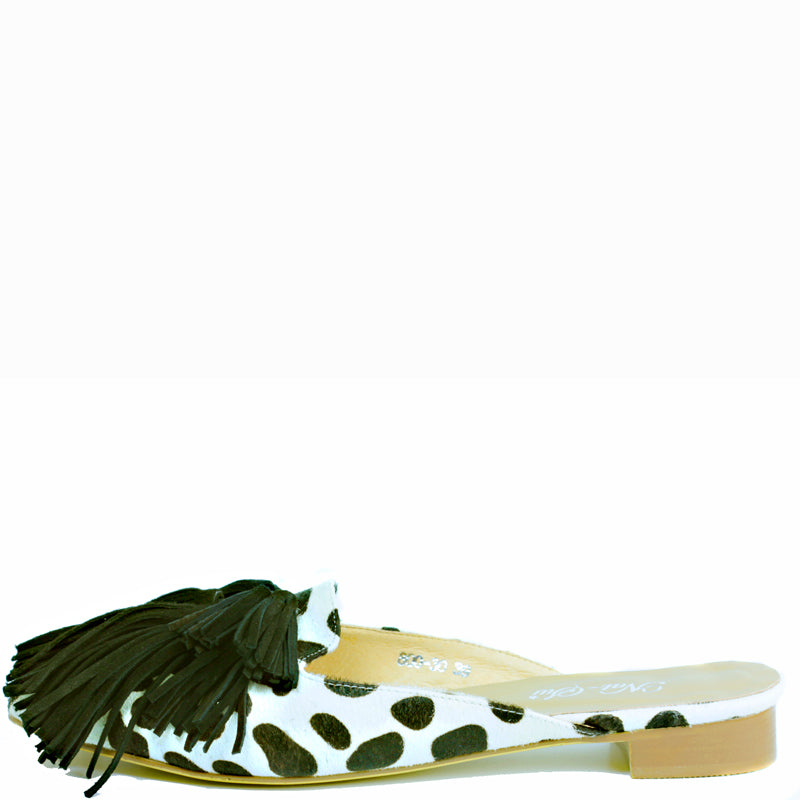 Winx Flat in Dalmation hide with thick black suede shag
