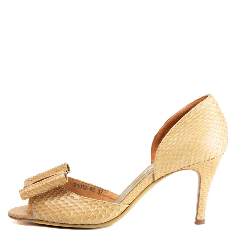 Minnie Heel in Beige snake