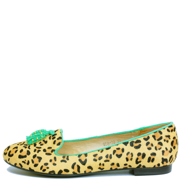 Dauphine Ballet Flat in Leopard Fur with Green trim and studded Tassle
