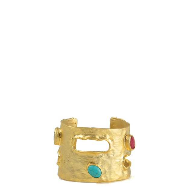 Cuff- Aztec in matt gold with coloured Stones.