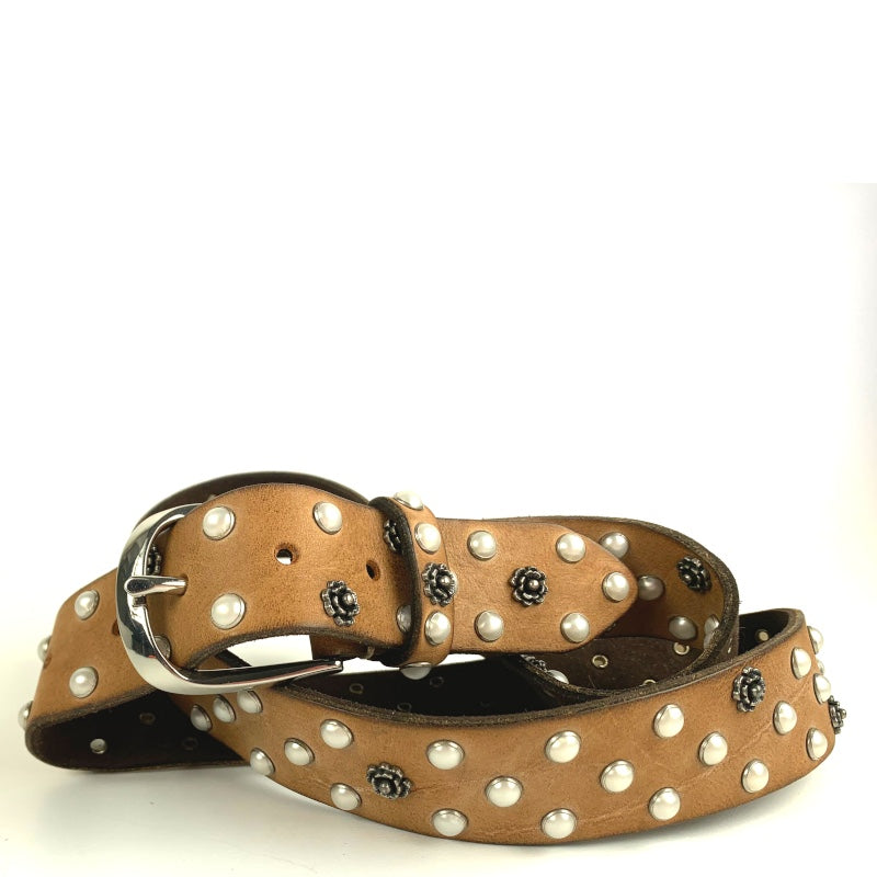 B-Belt in Brown Leather with Pearl And Flower Studs