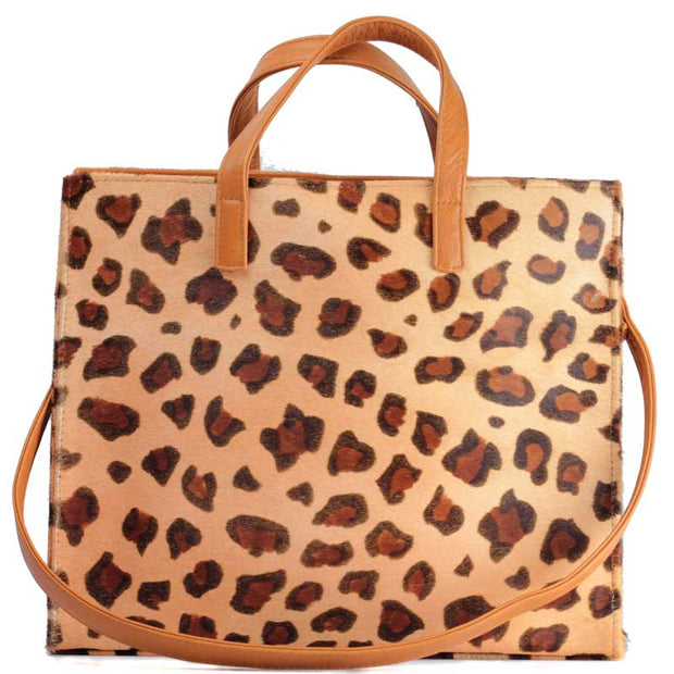 Tote Leopard Hide Bag with Shoulder strap
