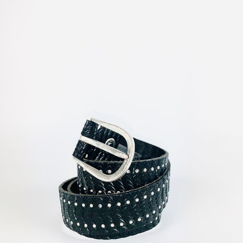 B Belt in Black leather with silver studding