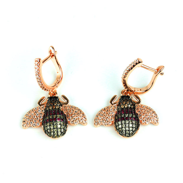 Bee earings with crystal encrusted clasp
