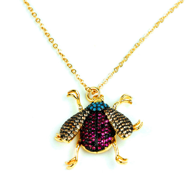 Jewelled Bee Necklace with Gold Chain and Clasp.