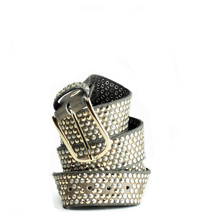 b.belt in Mushroom Leather with studding