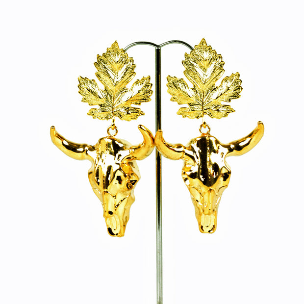 Gold Bull Head earrings with gold leaf