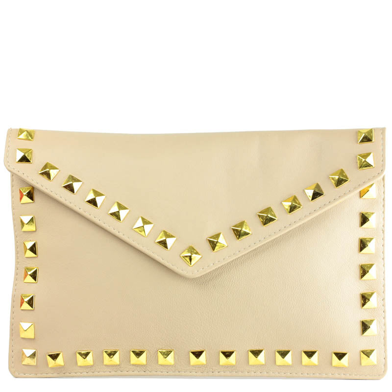 Clutch in Camel Leather with Studding