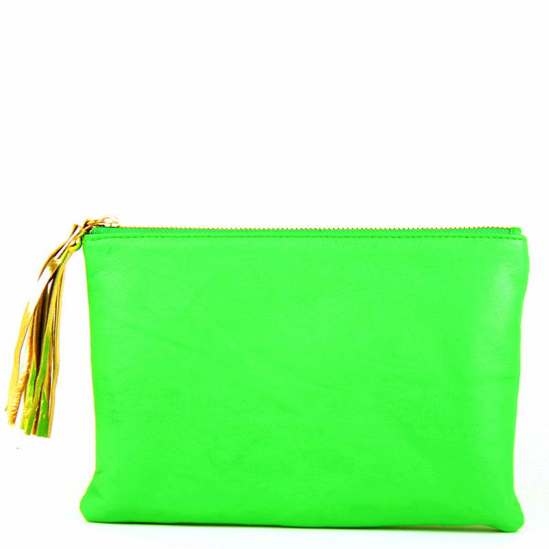 Lime Green Clutch with Gold Tassle
