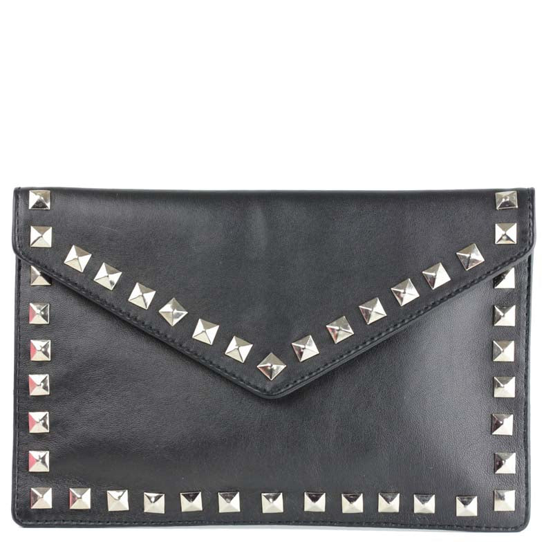 Clutch in Gunmetal Grey leather with studs