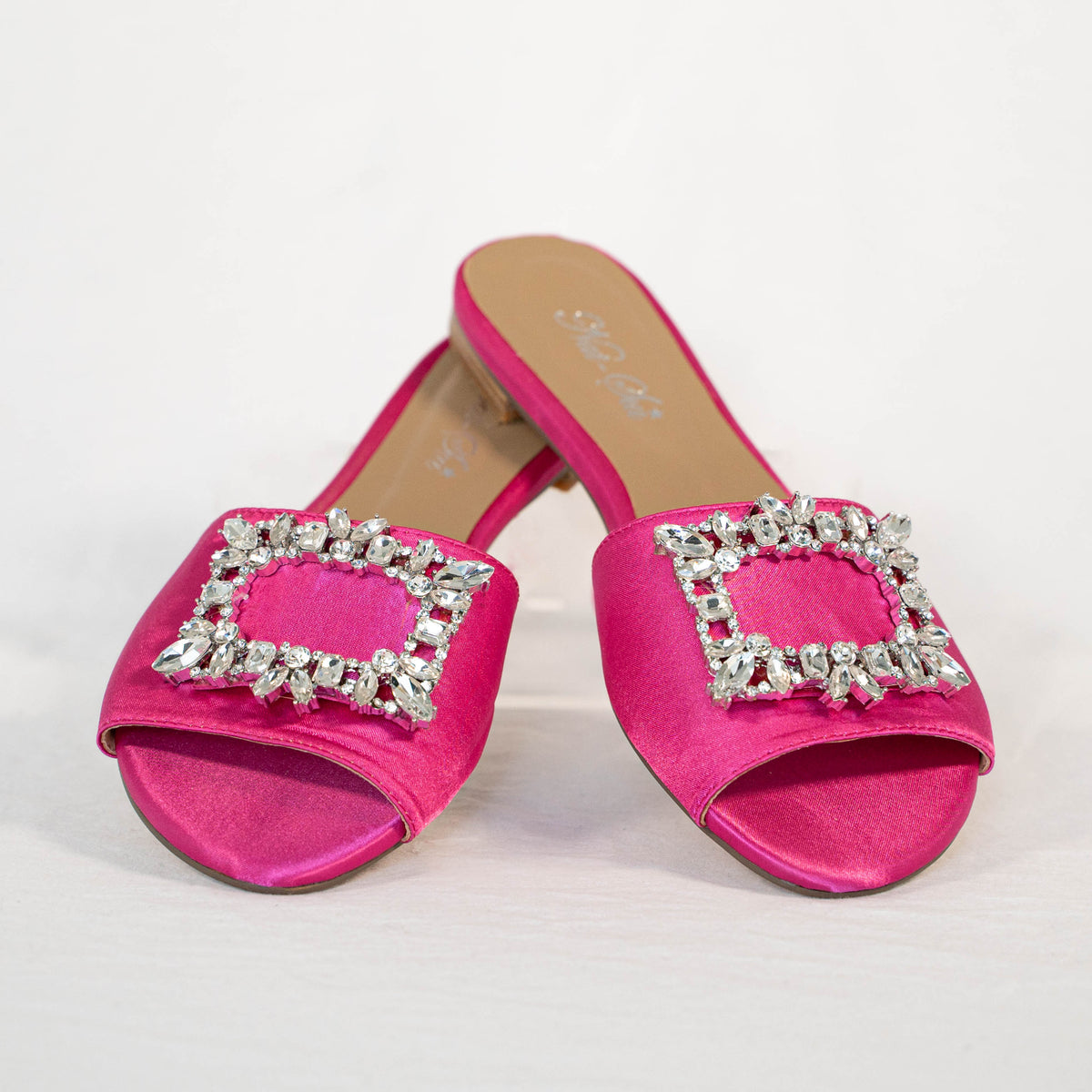 Hot Pink Satin Slide with Diamante Buckle