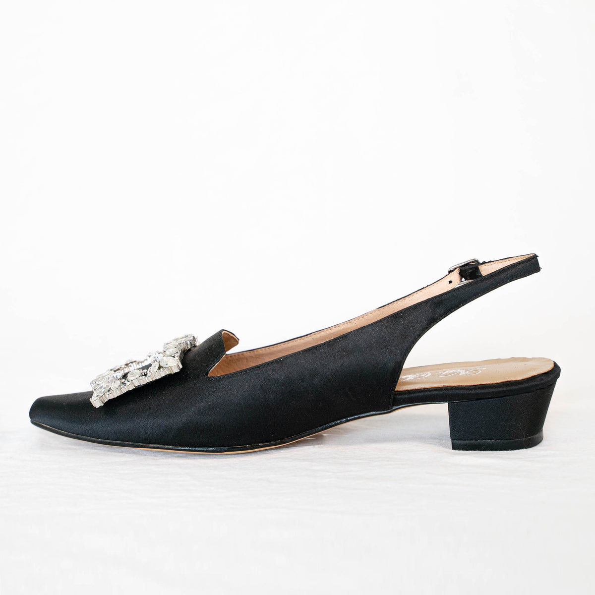 Black Satin Slide with Diamante Buckle