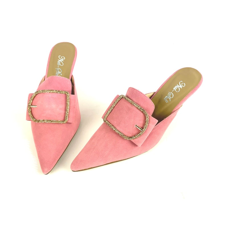 Gemma in Pink Suede with Diamante Buckle