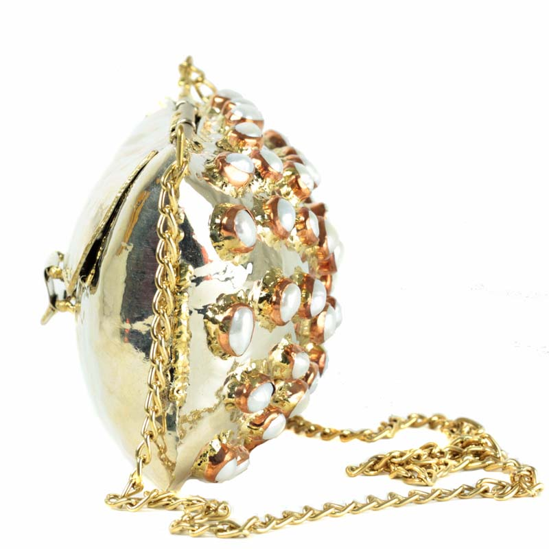 Mother of Dragons Metal hand beaten Gold and Pearl bag