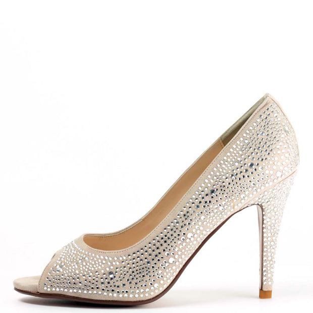 Bridal Galaxy Heel in Nude Pink with Swarvoski Crystals