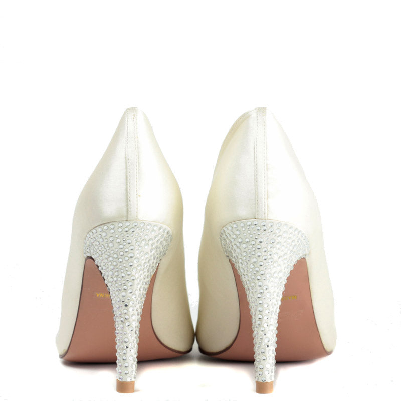 Bridal Venus Heel in Ivory Satin with Swarovski Crystal