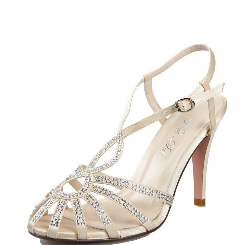 Bridal Andromeda Sling Back in Champagne with Swarovski Crystals