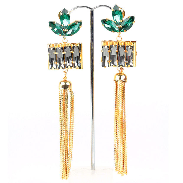Tassel earrings with Green and Lavender crystals, Gold Tassel