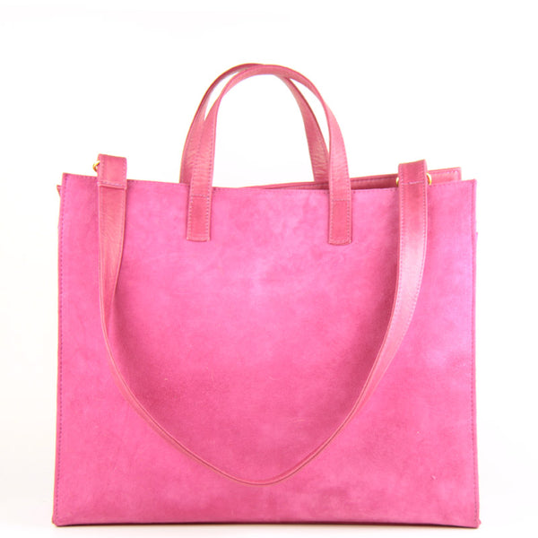 Wedding Shoes Zippay: Large Pink Suede Tote Bag