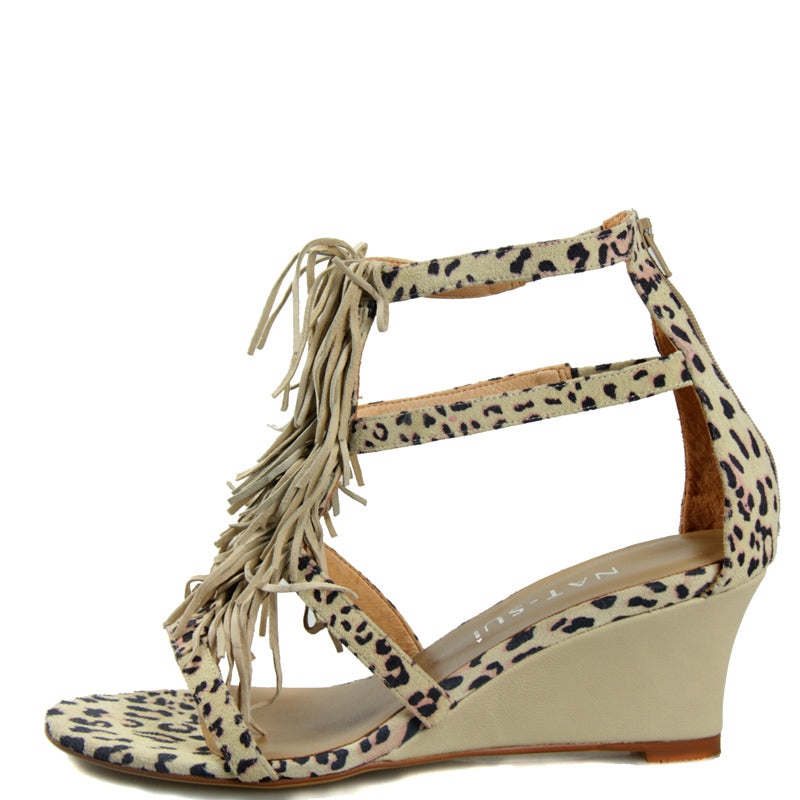 Shaggy Wedge in Leopard Suede