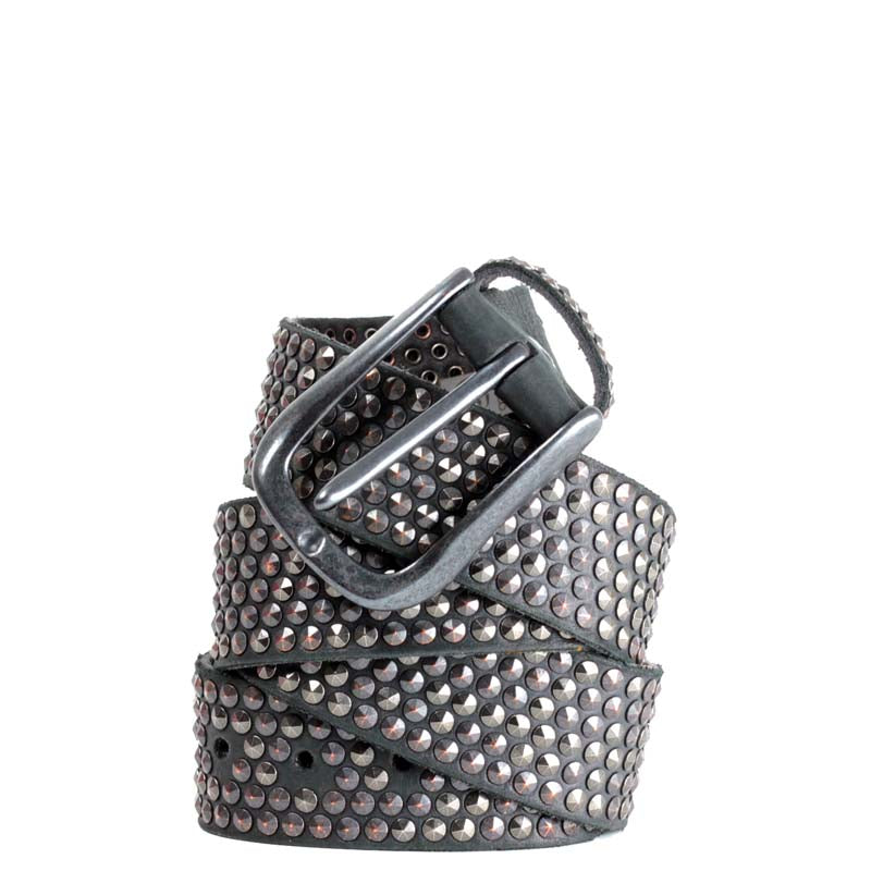 b.belt in Gunmetal Grey Leather with studding