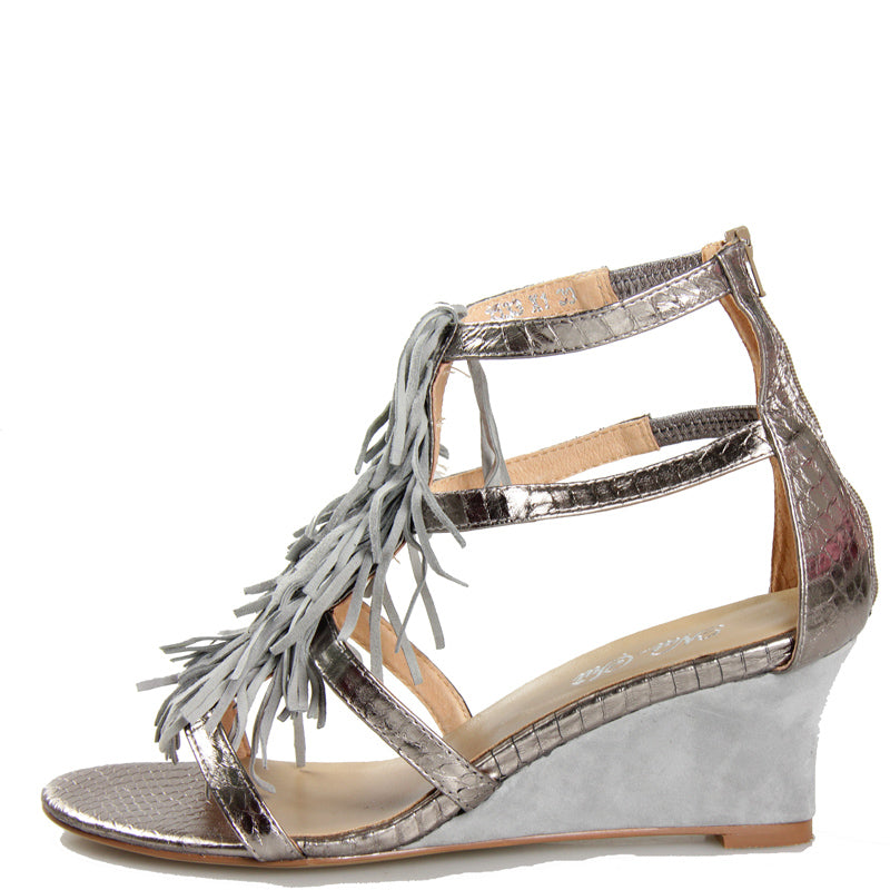 Shaggy Wedge in Pewter Leather with Grey Suede Shag