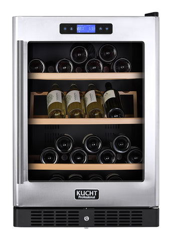 KUCHT 54-Bottle Dual Zone Wine Cooler Built-in with Compressor - Stainless - Kegerator Craft