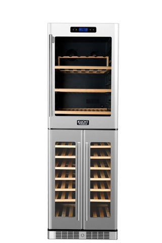 KUCHT 121-Bottle Triple Zone Wine Cooler Built-in with Compressor Stainless - Kegerator Craft