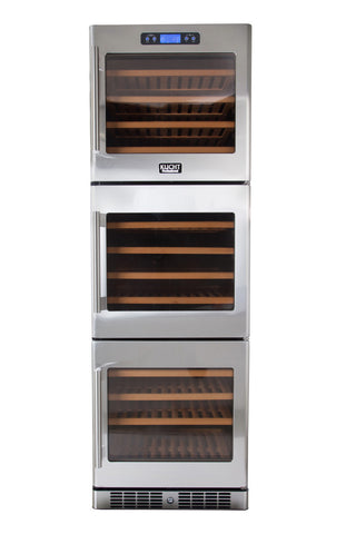 KUCHT 133 Bottle Triple Zone Wine Cooler Built-in with Compressor Stainless - Kegerator Craft